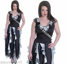 Ladies Zombie Prom Queen Gothic Fancy Dress Halloween Costume Size 12 14 16
