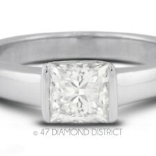 1.54ct. E-SI2 Ex Princess Certify Diamond 950 PLT. Tension Engagement Ring 4.9gm