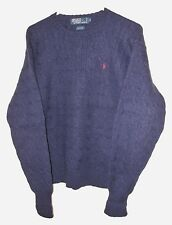 Vtg Ralph Lauren Polo Sweater 100% Wool Cable Knit Crew Neck Navy Blue Large