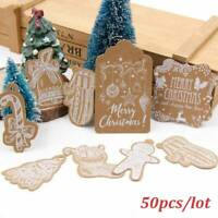 50pcs Xmas Lovely Kraft Paper Tags DIY Gift Labels with Rope Party Decor d