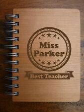 Personalised Best Teacher Notebook Journal Wood   Thank you Teacher Gift Leaving