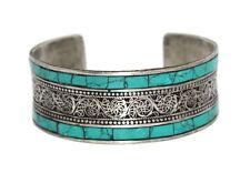 Turquoise Bracelet Turquoise cuff Bracelet Silver Bracelet Tribal Gypsy Bracelet