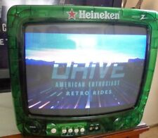 "Heineken Beer Green See Through 13"" Tv Television Zenith - Tested & Working!"