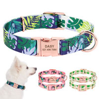Fashion Personalised Dog Collars Pet Name ID Collar Laser Engraved Metal Buckle