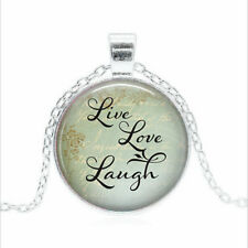 Live, Love, Laugh Tibet silver Glass dome Necklace chain Pendant Wholesale