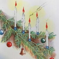 Vintage Early Mid Century Christmas Greeting Card Candles In Christmas Tree 1940