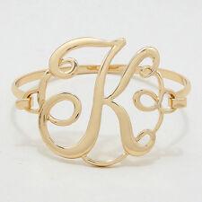 "Monogram Initial Bangle Bracelet GOLD 1.75"" Letter K Hinge Personalized Jewelry"