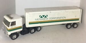 "RARE Vintage-Menasha Corp. Semi Truck and Trailer by Ertl Toys 19 "" long"