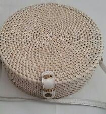 New ata grass rattan round bohemian shoulder bag 20cm