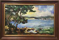 Tableau Peinture Cadre 20ème XXème M. Charton Marine Réalisme Bord côte Fauvisme