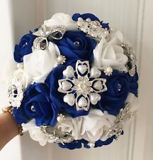 Bridal Posy Bouquet  Royal Blue and Ivory Roses  with Brooches
