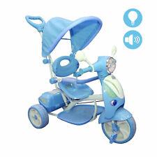 Triciclo Vespina Bimbo Bambini con Cappottina e Maniglia Direzionabile Celeste