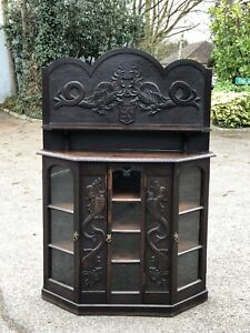 Country House Antique Sideboard/ Display Cabinet With Family Crest.