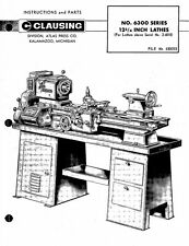 "Atlas Clausing 6300 Series 12"" Lathe Instructions and Repair Parts Manual"