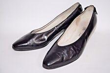 """Vintage Lanvin Paris Woman's Black Glossy Leather Shoes Heals 2"""" Size 4,5 - 5 UK"""