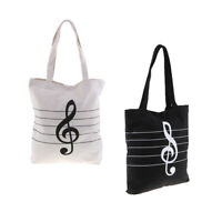 Music Theme Tote Handbag Girls Shoulder Bag Reusable Shopping Grocery Bag