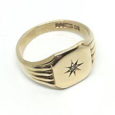 Vintage 9ct Yellow Gold Diamond Cushion Signet Ring 1966 Hallmarked Size R 1/2