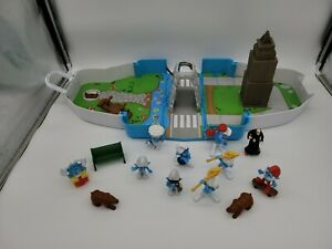 Smurf Central Park Carrying Case Play Set -  PEYO JAKKS #29109 Incomplete