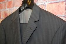 Mens 42 L HUGO BOSS X Guabello Charcoal Brown Stripe Super 130's Wool Suit