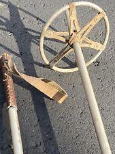 """Vintage Ski Poles 6"""" Baskets Leather Grips Aluminum shafts Display Decor Antique"""