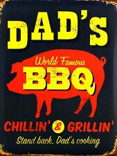 Dad's BBQ, Retro metal Sign/Plaque, Gift, Home, Kitchen, Garden