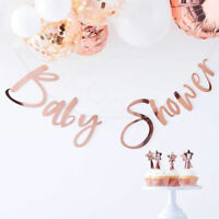 Rose Gold Baby Shower Bunting Banner Garland Unisex Oh Baby Party Decorations