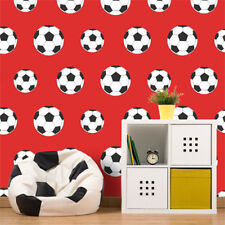 Football Soccer Sport Wallpaper Kids Bedroom Goal Ball Red White Black Belgravia