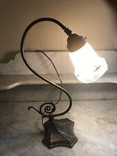 Antique Goose Student Desk Table Lamp Southwest Them Reverse Painted Glass Shade