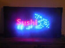 "Sushi Light-Up Moving Electric Hanging Sign Shrimp Red & Blue Lights 20-7/8"" in"