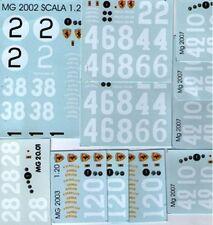 decal 1/20 NUMERI - STRUMENTI VARI FERRARI ANNI 1950-60 ATELIER CAR MODEL DE048
