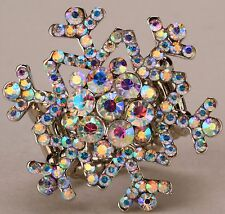 Xmas Snowflake Stretch Ring Crystal Rhinestone Holiday Jewelry Silver AB RD13