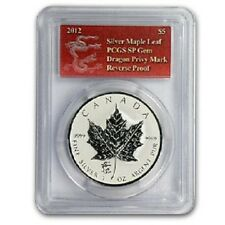 2012 Canadian Maple Leaf Dragon Privy 1 oz .9999 Silver Coin - SP GEM PCGS