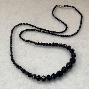1930s Glass Necklace Black French Jet Graded Beads Vintage Jewellery