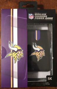 NFL Minnesota Vikings Wireless 5000 Mah Charging Power Bank