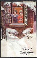 684# Neujahr Reliefkarte Prosit Neujahr, gel. 1910 n. Holzminden