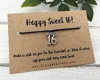"""Happy Sweet 16"" Silver 16th Birthday Message Card Tie on Wish Bracelet Gift"