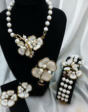 Vintage 1952 Crown Trifari Camelia Full Set-Necklace, Bracelet, Brooch, Earrings