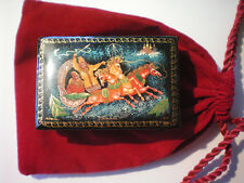 BEAUTIFUL Russian Lacquer Trinket Box Horses Pulling Sleigh Signed