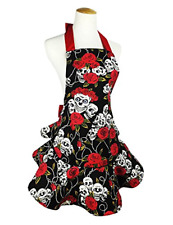 TLY Womens Cute Floral Skull Skirt Canvas Apron Halter Tie with Pocket