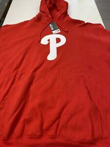 PHILADELPHIA PHILLIES LOGO MLB RED BIG 3X MAJESTIC HOODED SWEATSHIRT FREE SHIP