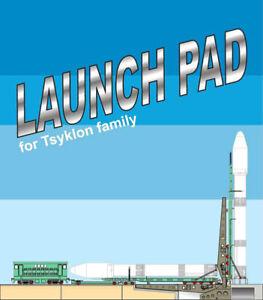 rocket Cyclone-4+ Launch Table + locomotive 3d 1:96. Paper model