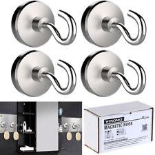 4 Pack 32MM Heavy Duty Magnetic Hooks Hanger 40LB Hold Neodymium Strong Magnet