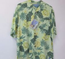 Bermuda Bay Men's Medium Hawaiian Silk Shirt Lime Green Short Sleeve Button Up M