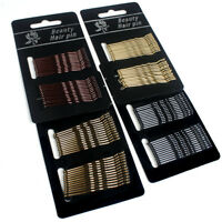 24X Black Wave Invisible Hair Clips Flat Top Bobby Pins Grips Salon Barrette New