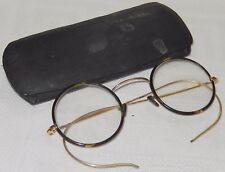 ANTIQUE 20TH CENTURY PAIR OF SPECTACLES GLASSES TORTOISESHELL ROUND LENS
