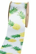2 meters of 25mm Wide Summer Printed Satin Wrapping Ribbon Pineapple LB2505