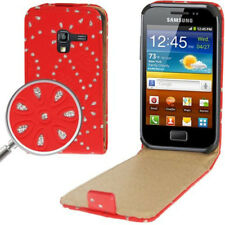 Flip Case Tasche für Samsung S7500 Galaxy Ace Plus Diamond Bling in rot Hülle