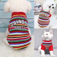 Pet Cat Dog Clothes Small Dog Coat Winter Warm Classic Dog Sweater Rainbow Color
