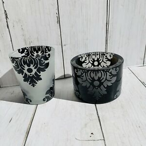 Rare Partylite Black Coutour Votive Candle 2012 Holders Set Of 2