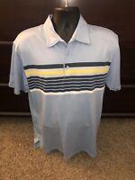 Travis Mathew Pima Cotton Polo Golf Shirt Short Sleeve Blue Gray Yellow Size XL